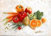 BODEGONES DE FRUTAS Y VERDURAS MODERNOS. MODERN STILL LIFE OF FRUITS AND . bodeg pera pimientos