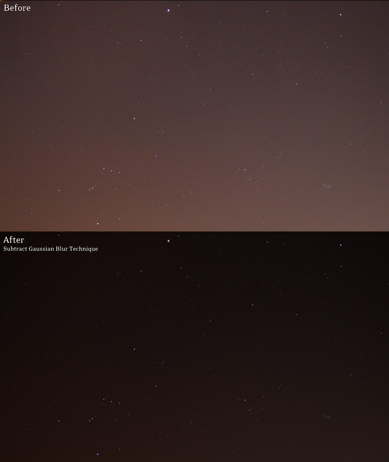 Remove Light Pollution from Star Photos