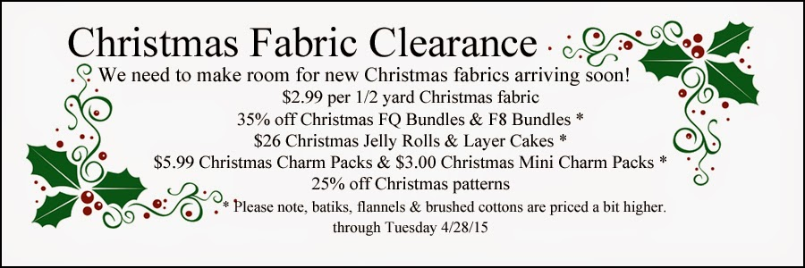 Christmas Fabric Clearance Sale at Crazy Quilt Girl Fabric Shop!