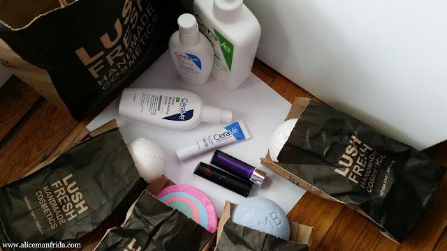 CeraVe, Lush, Rimmel, skin care, bath bomb, bath, lipstick