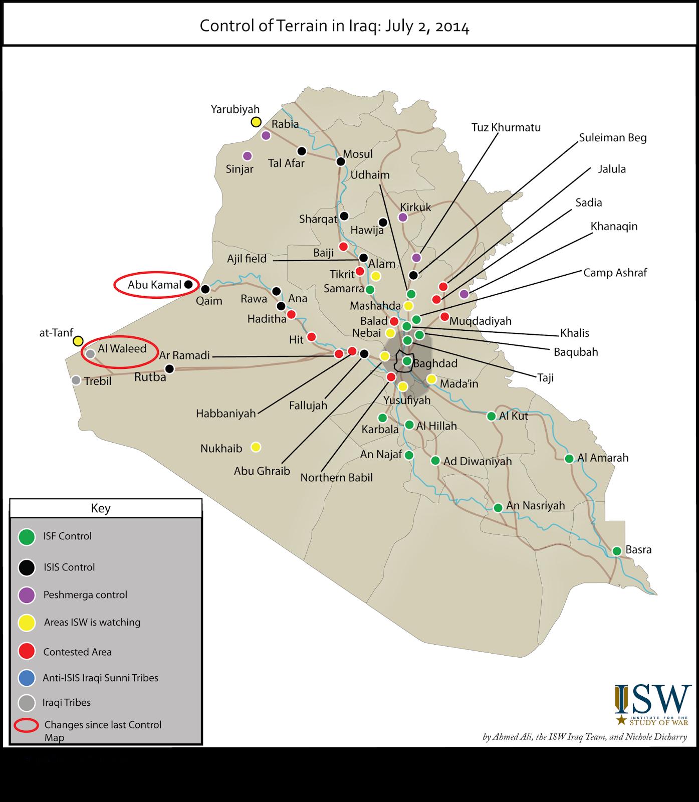 control of terrain in iraq july 2 2014