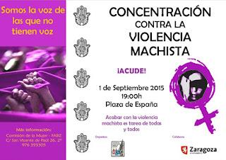 Ni una menos concentración 1 de Septiembre Zaragoza
