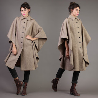 luxie vintage 80s high fashion taupe tan cape draped winter coat jacket autumn fall buttons avant garde