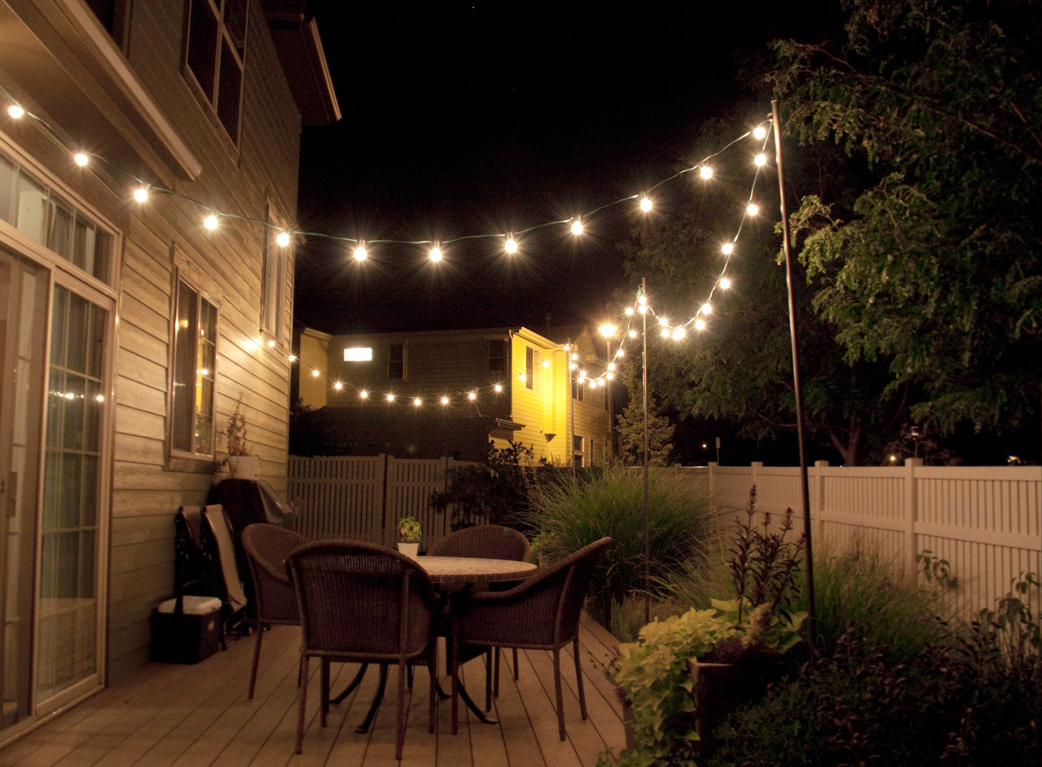 backyard string lights and flowers home design inside