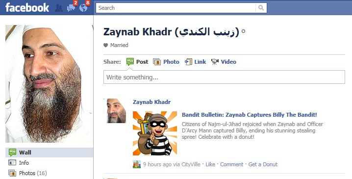 osama in laden facebook page. osama bin laden facebook