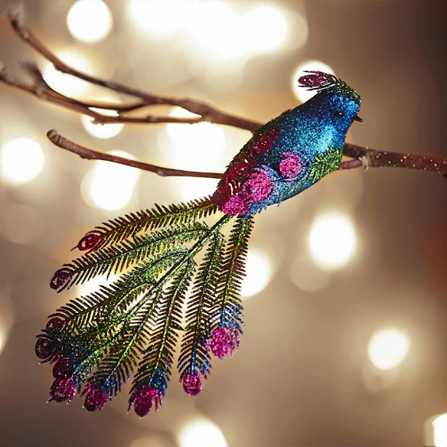 Graham and Green Christmas tree Glitter Peacock Clip decoration