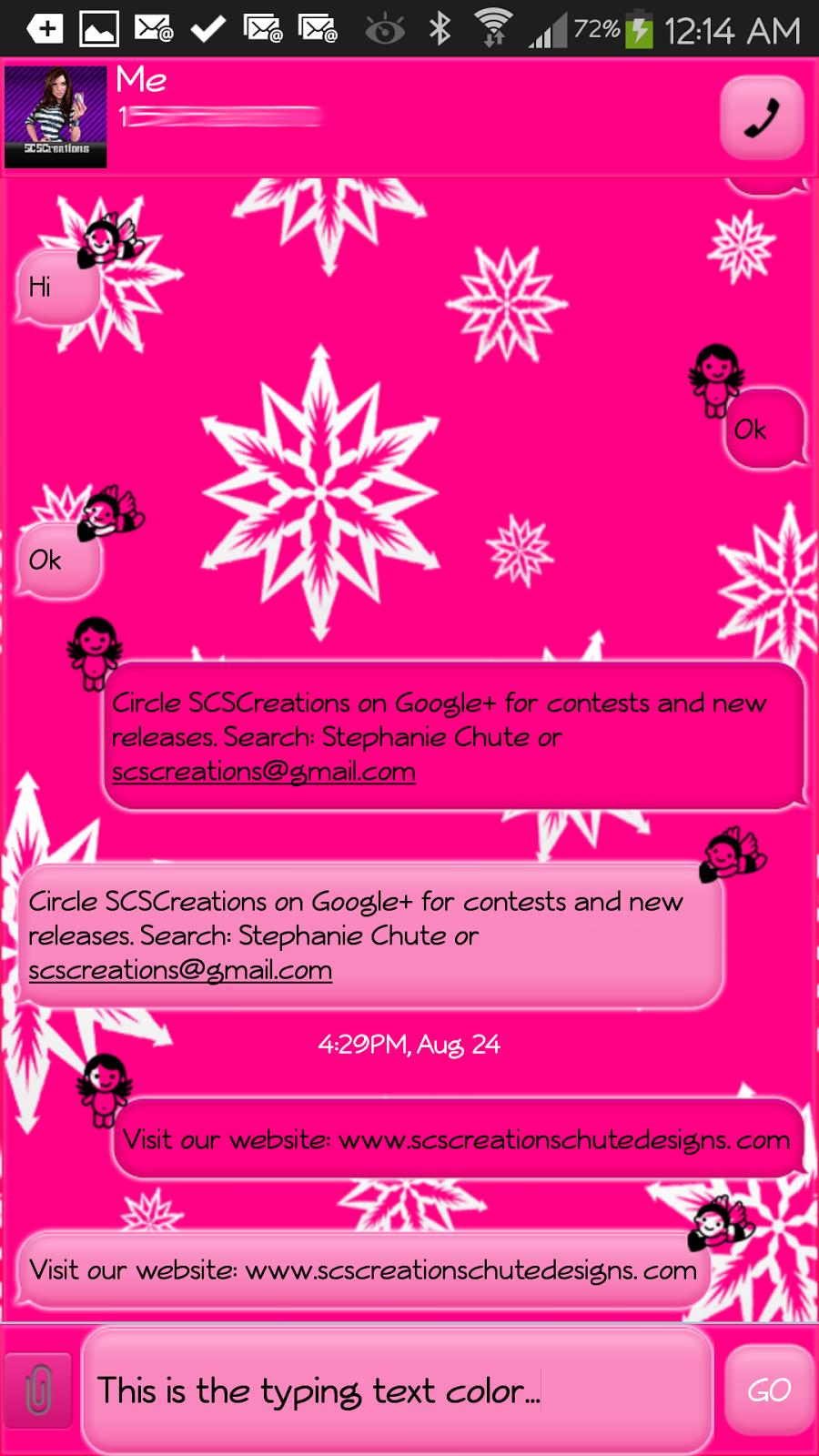Pink themes for gmail - Go Sms Theme Pinksnowangel
