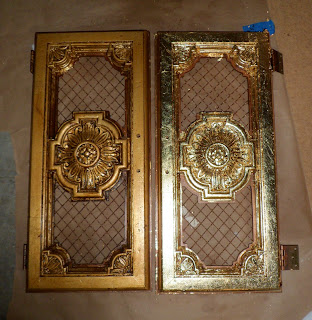 glazed gold leaf, before and after