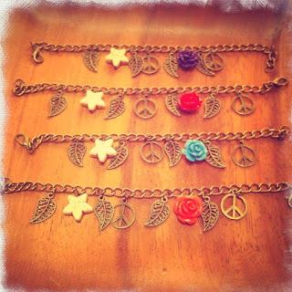 happy uky pulseras rosa paz y estrellas