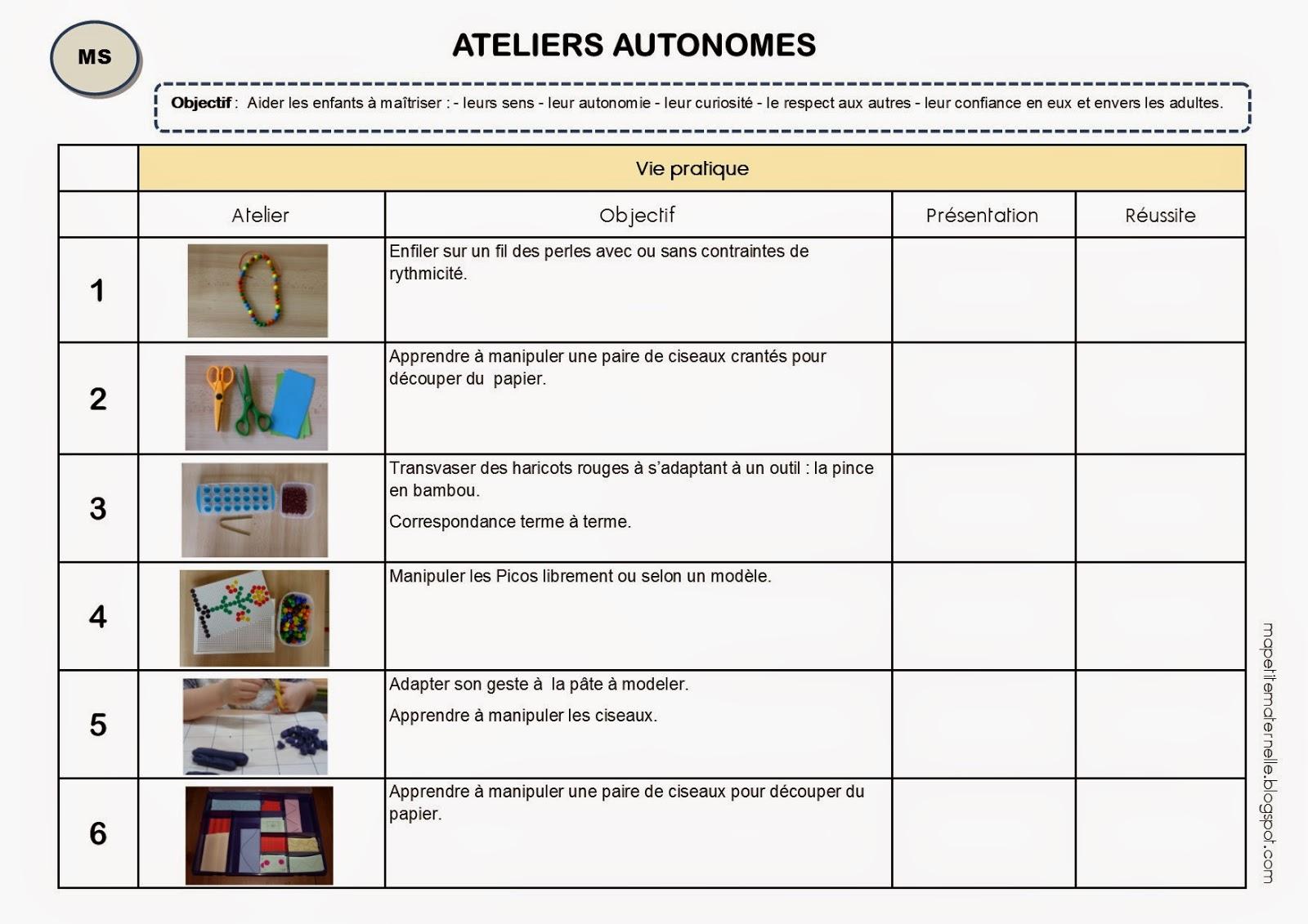 Ateliers autonomes Montessori livret élève MS
