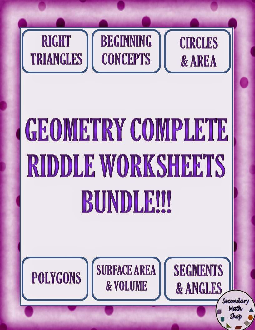 Free Worksheet Geometry Fun Worksheets the spectacular world of secondary math riddle worksheets mazes and coloring sheets making practice funny