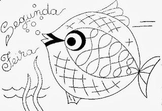 desenho semaninha do peixinho de aquario - segunda feira
