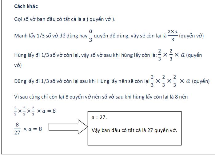 Tính ngược từ cuối lên - toán 5 nâng cao
