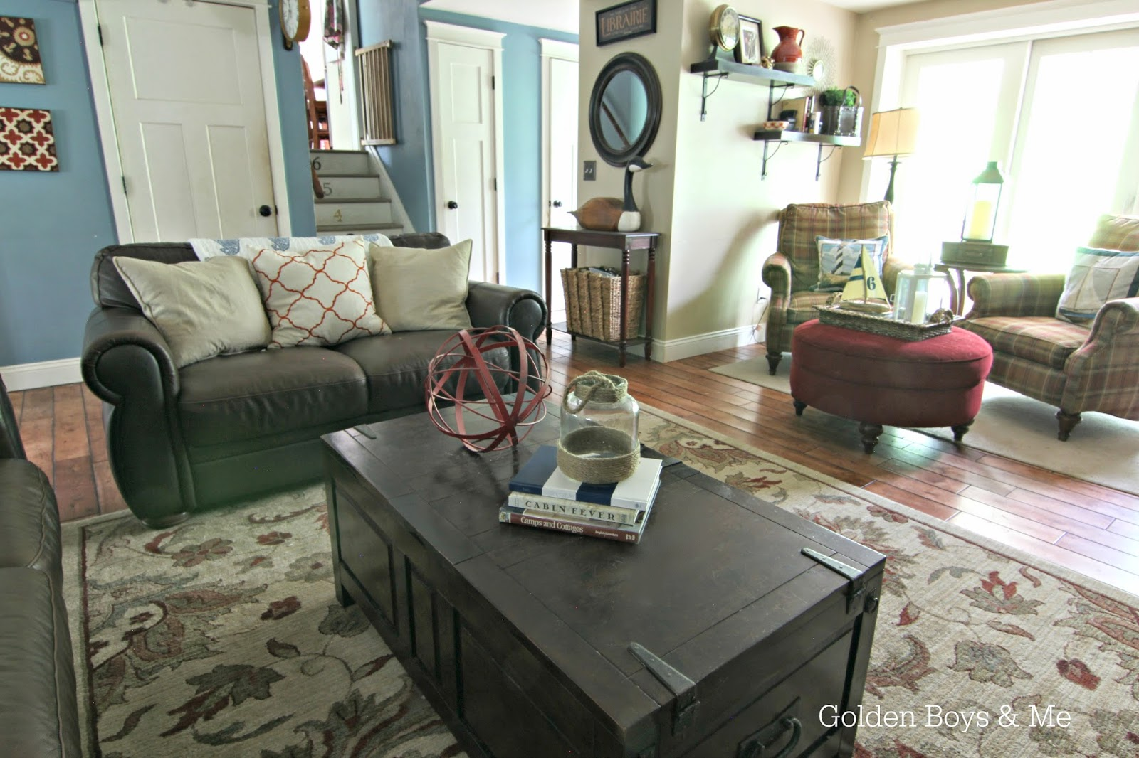 Americana nautical summer family room-www.goldenboysandme.com