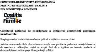 Coaliția pentru Familie 🔴 Respingem orice tentativă de confiscare politică a inițiativei noastre..
