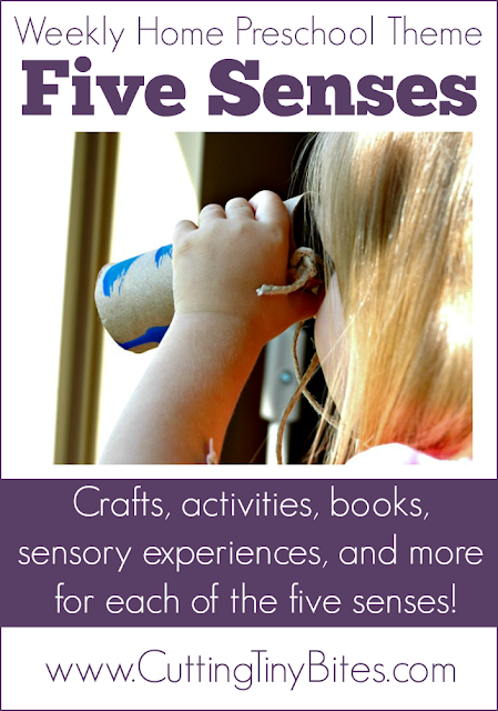 Five Senses- Homeschool Preschool.  Science, crafts, snack, picture books, sensory play, and more for a week of EASY home school pre-k.