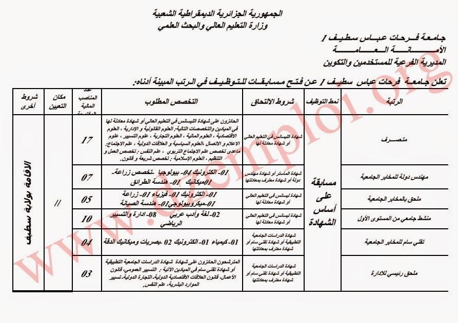 توظيف بجامعة فرحات عباس سطيف 1 جانفي 2015 1.jpg
