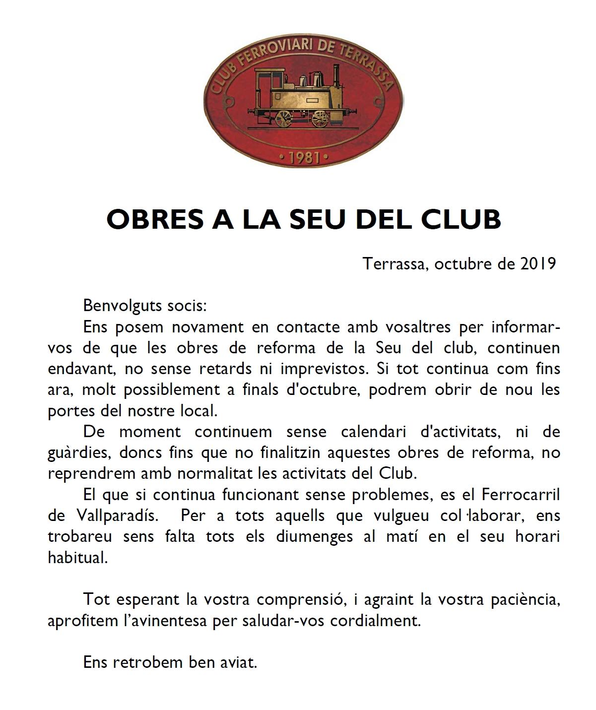 ***** Nou comunicat sobre les obres a la seu social del Club