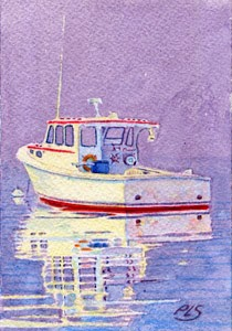 "Lobster Boat At Anchor in New Harbor - Watercolor 3"" x 5"""