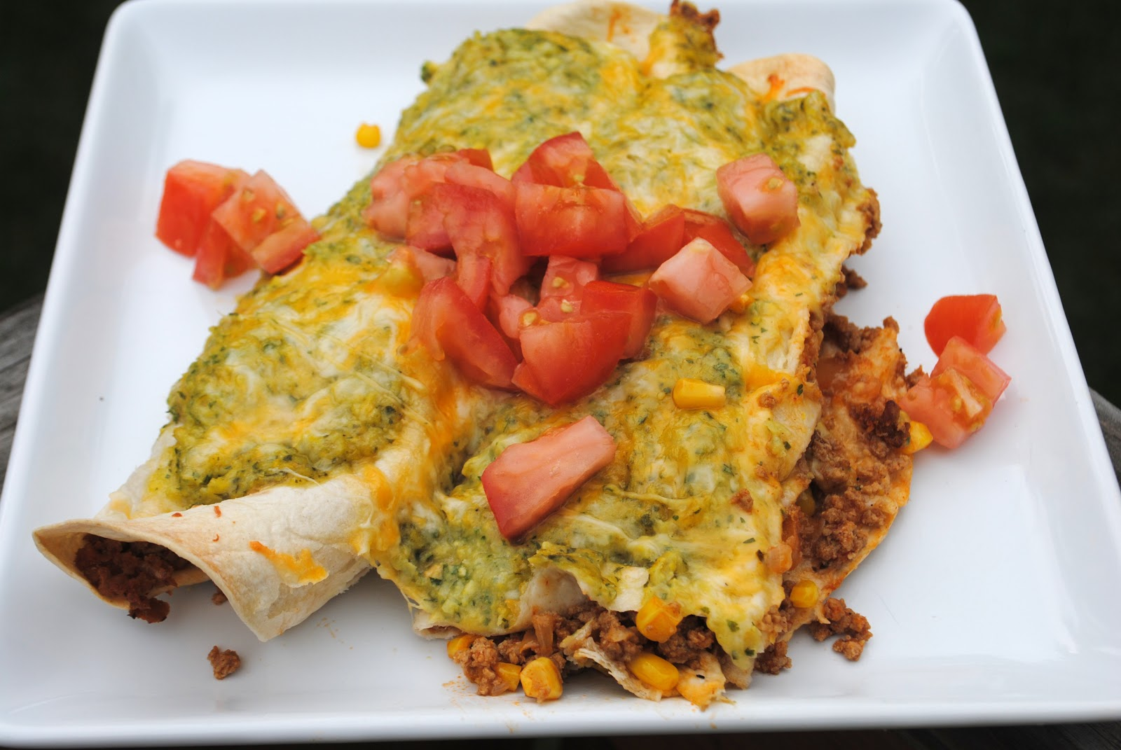 Turkey Enchiladas with Cilantro Corn Puree - Shugary Sweets