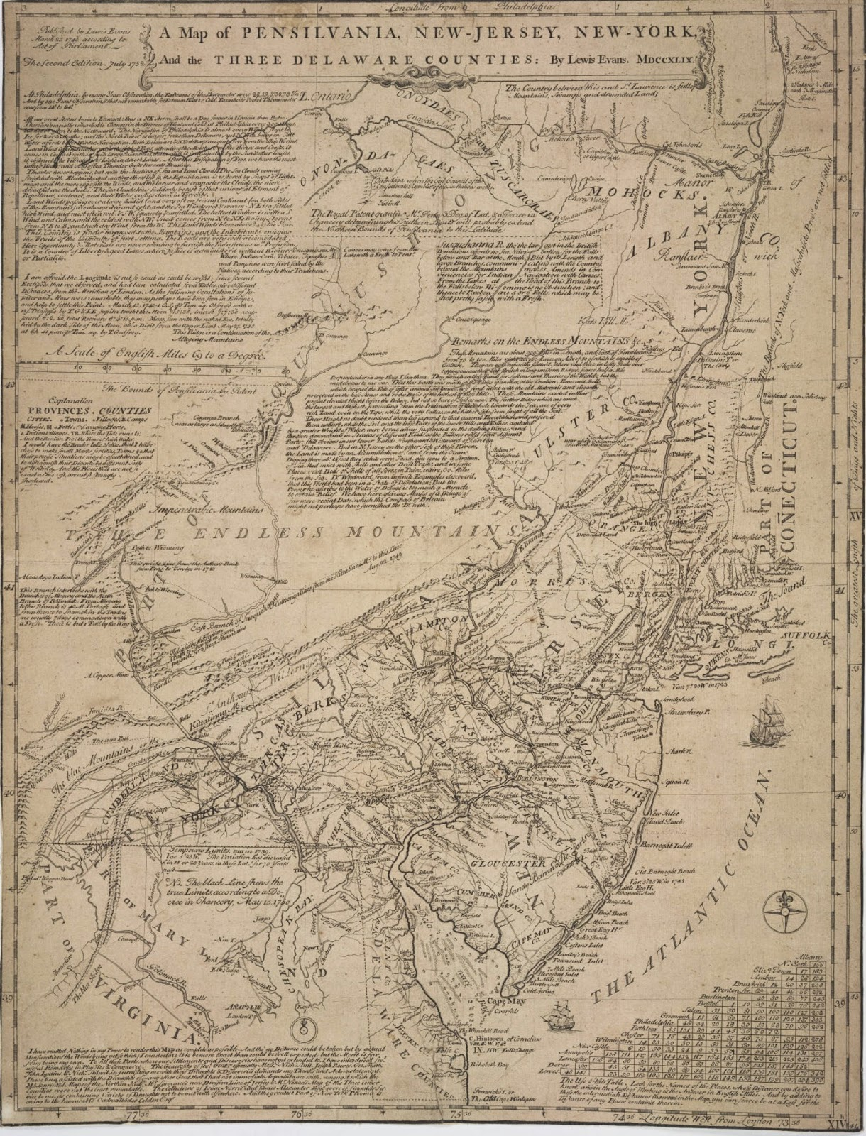 1755 a general map of the middle british colonies in america viz virginia mariland delaware pensilvania new jersey new york connecticut