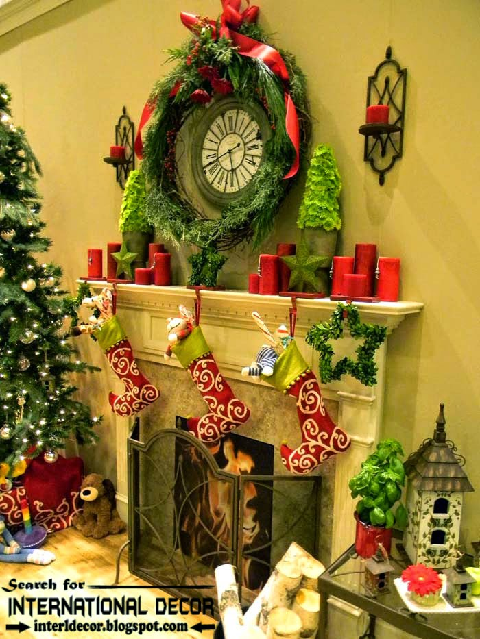 best Christmas decorating ideas for fireplace 2015, Christmas boots decor