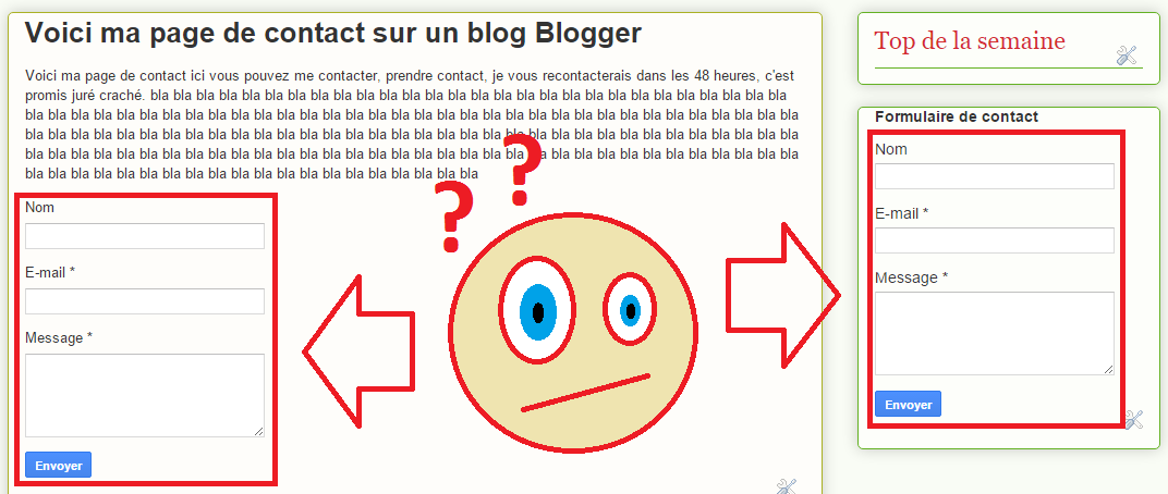 Double formulaires de contact Blogger
