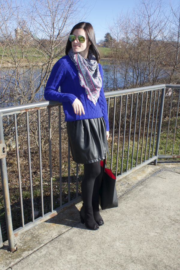 cobalt, black, faux leather, faux leather skirt, Target skirt, old navy sweater, cobalt sweater, cable knit sweater, Express scarf, winter outfit, Shoemint booties, Old Navy tote, tote bag, black tote, ootd, what i wore, skirt with tights, cocoon coat, tan coat