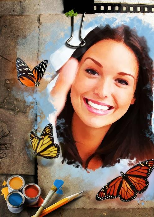 Montagem de fotos arte borboleta