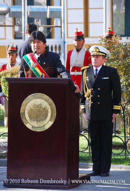 Evo Morales discursando em La Paz