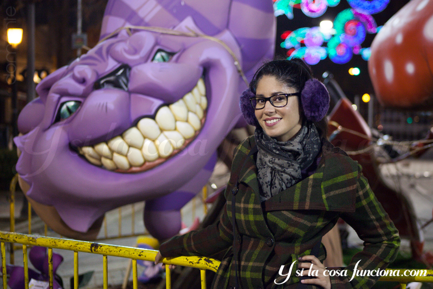 Ninot Cat Gato Morado Purple Cheshire Alicia Maravillas Wonderland