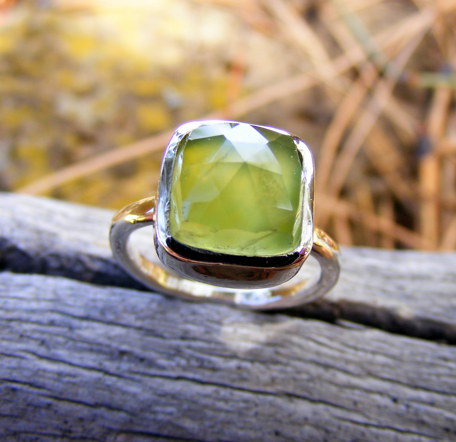 green prehnite silver ring