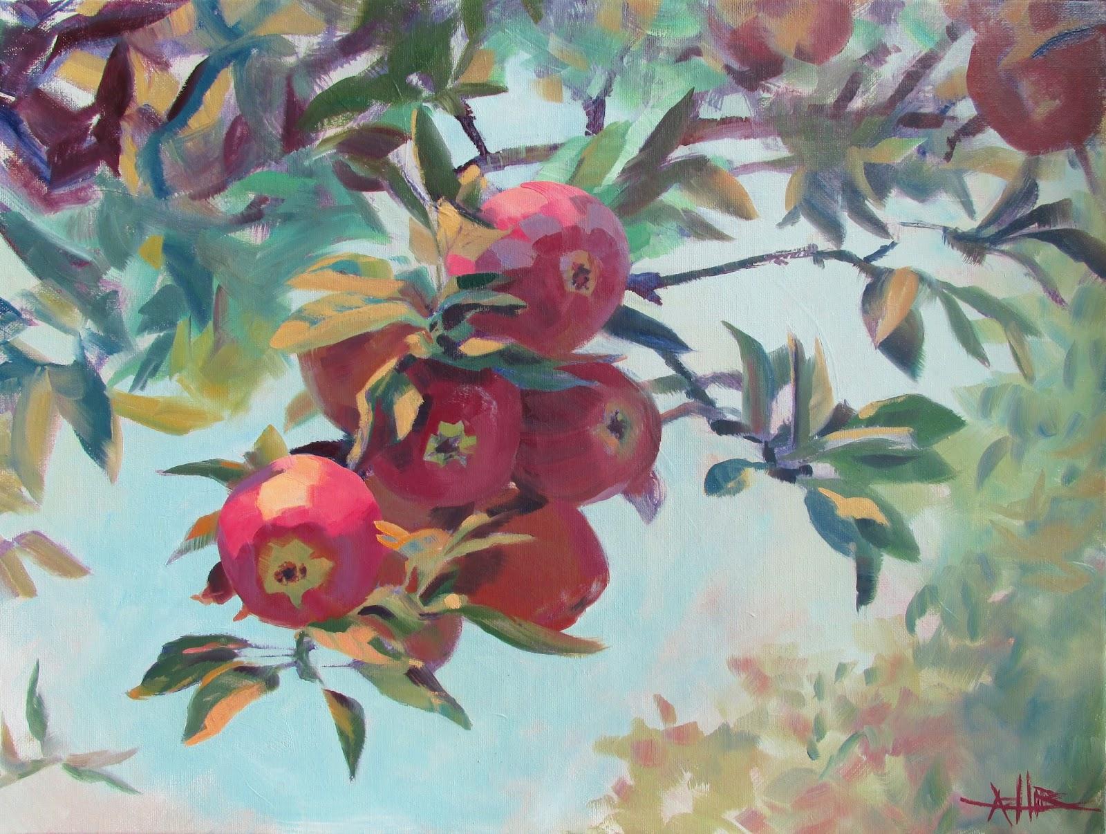 Artistaddie 2015 apples on the tree copyright hirschten 2015 oil on canvas 18 x 24 prints available on fine art america m4hsunfo