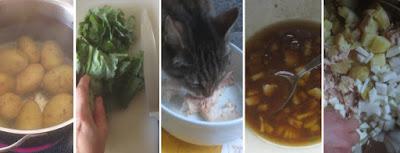 Zubereitung Lauwarmer Kartoffel-Lachs-Grünzeugs-Salat