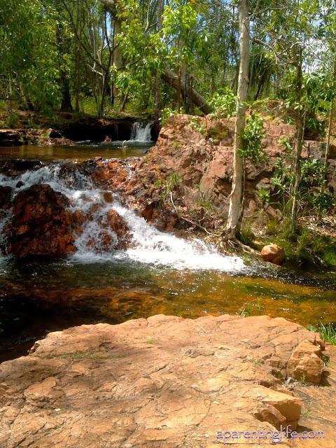 Small waterfall in rock pools