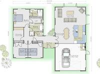 plano de casa que parecen 2 casas unida por un pasillo