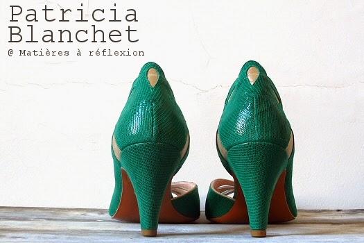 Escarpins verts Patricia Blanchet chaussures retro d'été ajourées Findouce