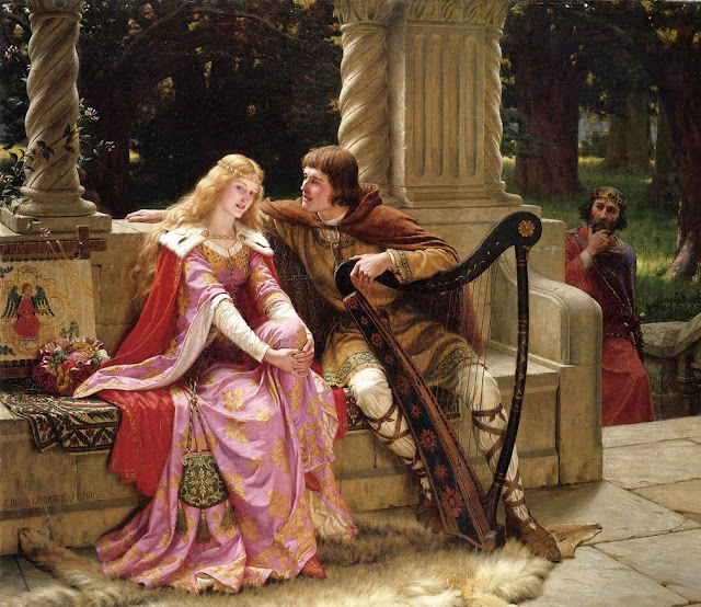 Edmund Blair Leighton,pink dress,harp