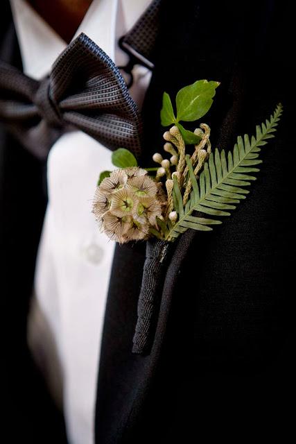 Scabiosa Pod, Brunia Berry, Ivy, Fern Boutonniere - Boutonnieres - Wedding Flowers - Groom - Usher - Best Man - Groomsmen - Ushers - Groom's Boutonniere