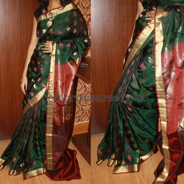 5457e03c412757 Pure Uppada Green and Blue Sarees - Saree Blouse Patterns