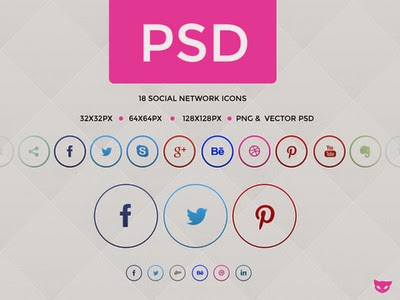 Rings Free Social Media Icons in Circle PSD