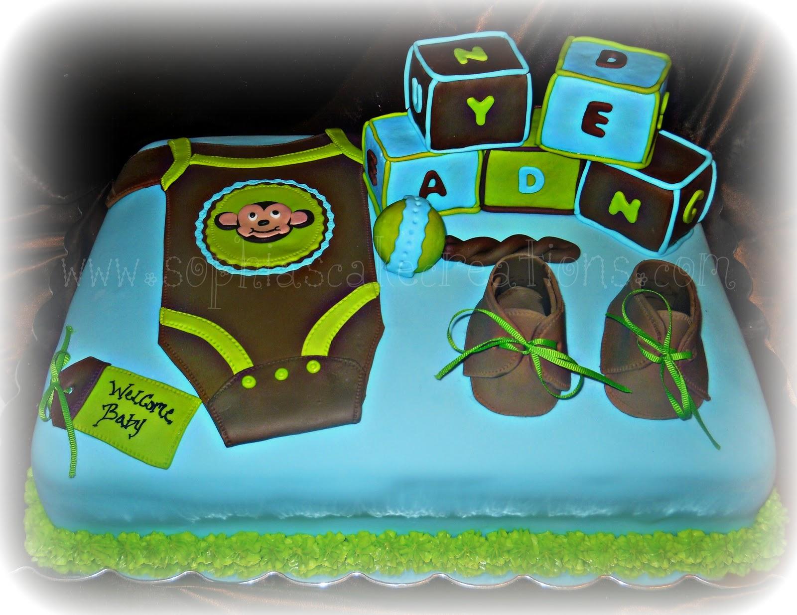 pin blue chocolate brown boy theme baby shower monogram cupcake cake