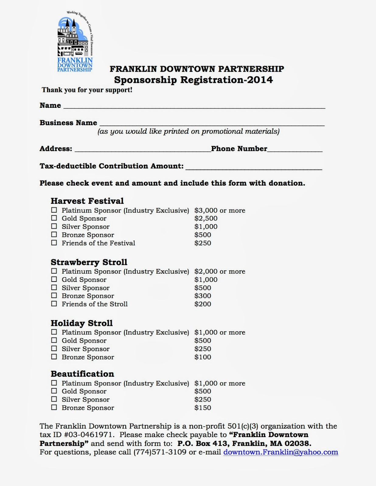 Franklin Downtown Partnership 2014 Sponsorship Registration Form – How to Make a Sponsor Form