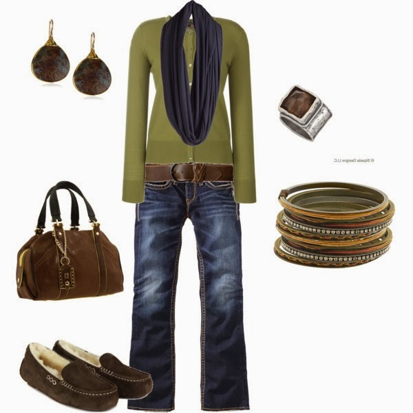 Green cardigan denim pants scarf hand bag and sleeper