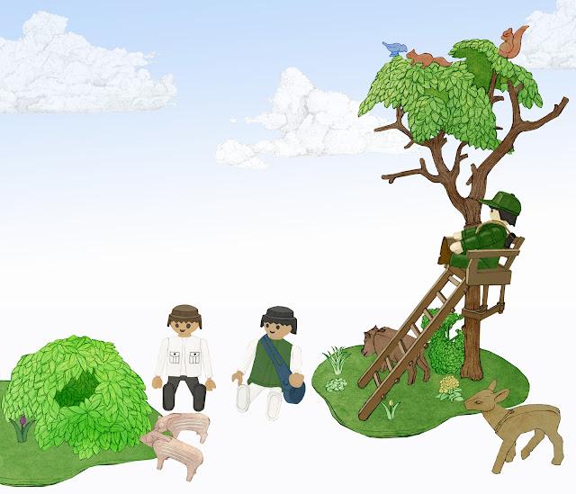 playmobil, bosque, dibujo