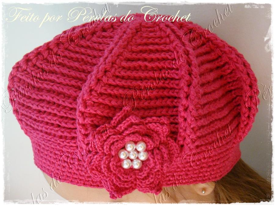 Renata Vieira Pérolas do Crochet  Boina em croche modelo Relevo f46dd4d7445