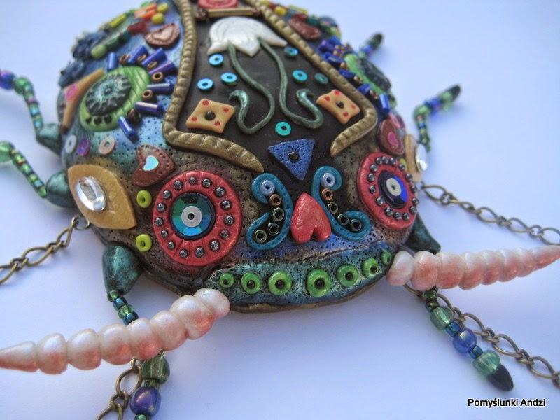 fimo, premo, polymer clay, żuk, folk, beads,