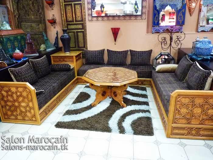 Salon marocain bien quip 2014 decoration marocaine for Modele sallon en bois