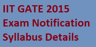 IIT GATE 2015 Notification Syllabus, Exam Date of GATE Apply Online gate.iitk.ac.in | GATE IIT 2015 Exam Dates and Syllabus Details