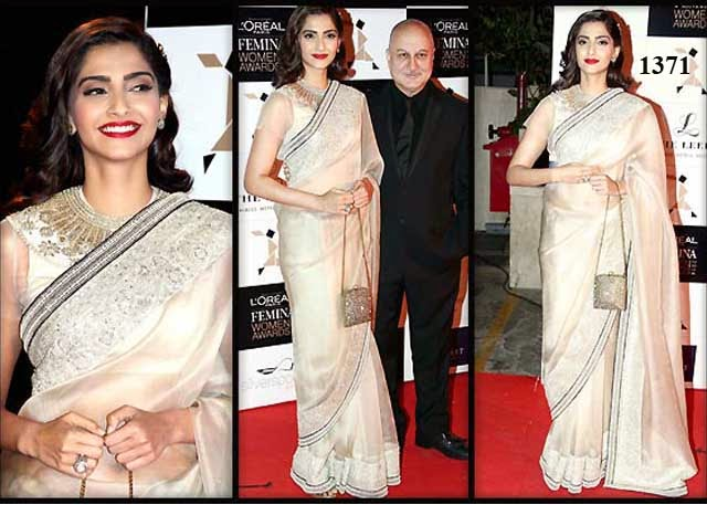 1371 - Sonam Kapoor In pearly white Saree with Heavy Embroidery At The LOreal Paris Femina Women Awards 2014